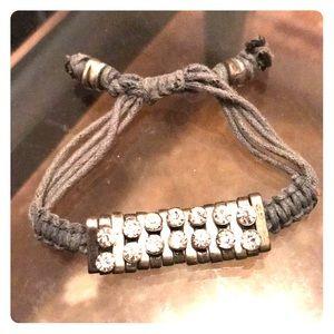 Blue rope bracelet with gemstones